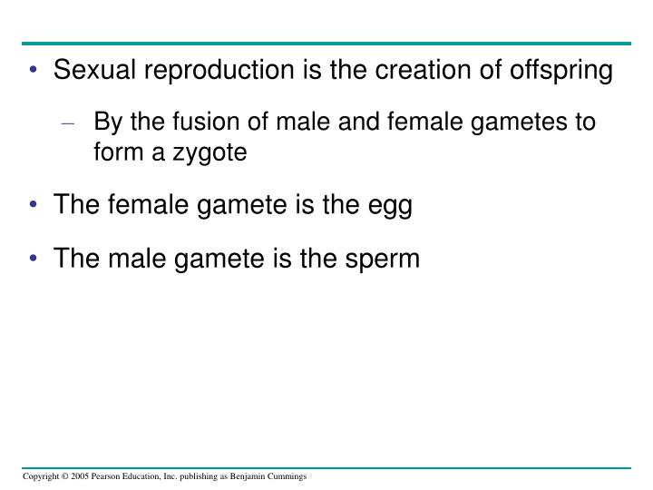 Sexual reproduction is the creation of offspring