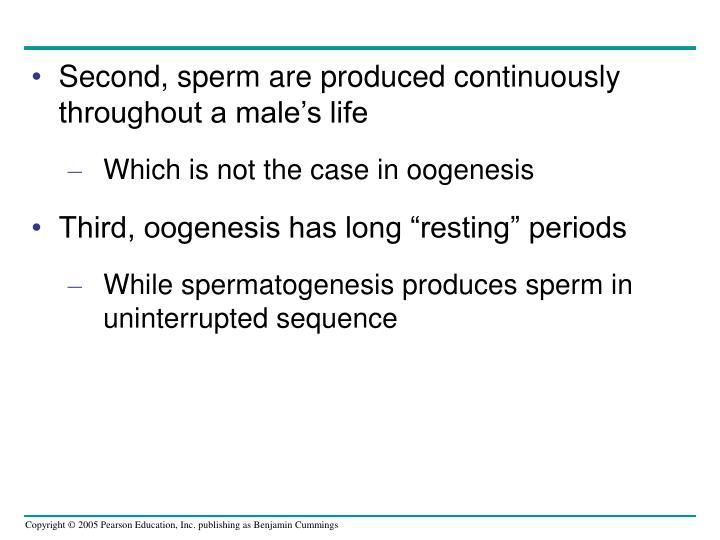 Second, sperm are produced continuously throughout a male's life