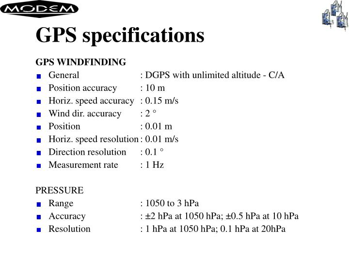 GPS specifications
