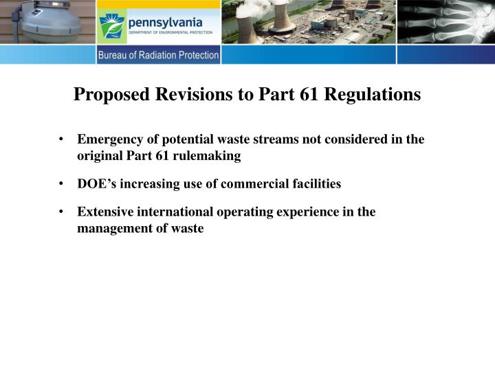 Proposed revisions to part 61 regulations