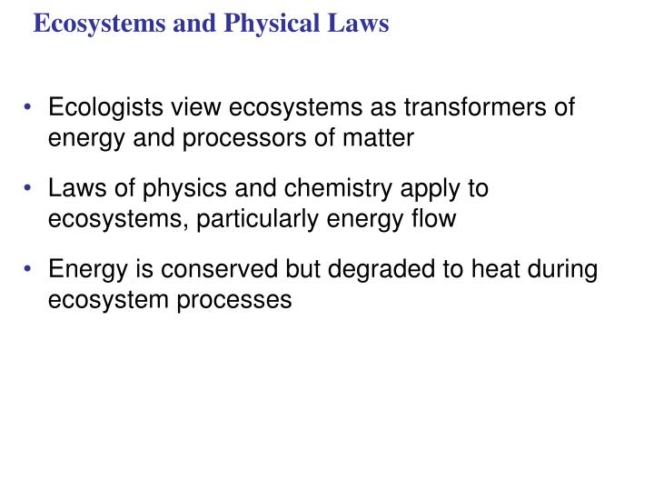 ecosystems and physical laws n.