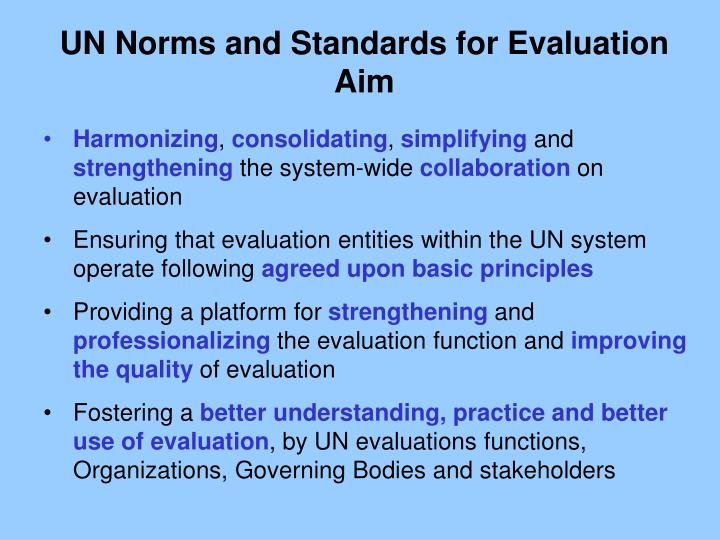 UN Norms and Standards for Evaluation