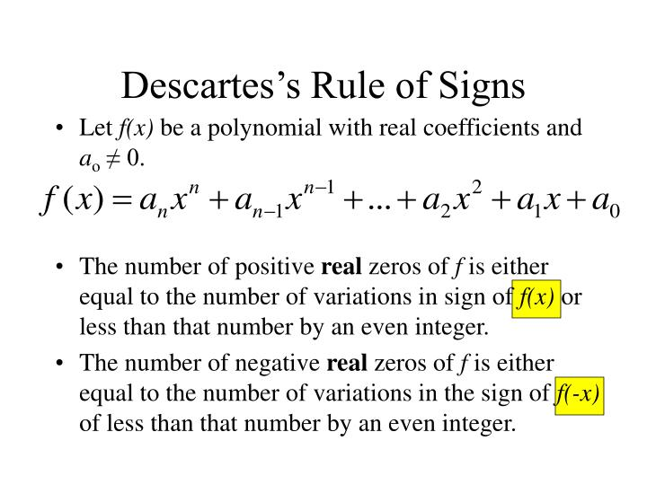 Descartes s rule of signs