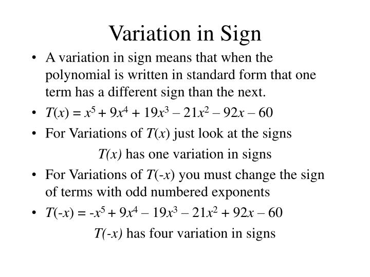 Variation in Sign