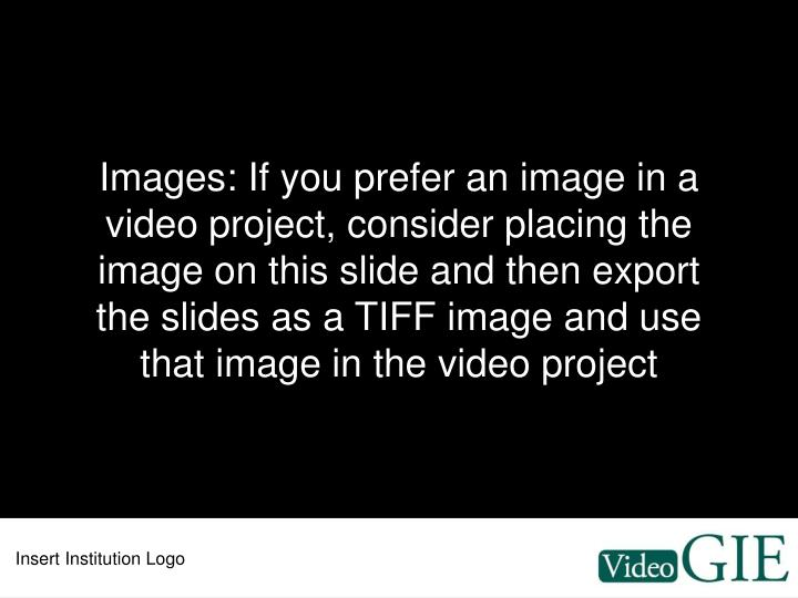 Images: If you prefer an image in a video project, consider placing the image on this slide and then export the slides as a TIFF image and use that image in the video project