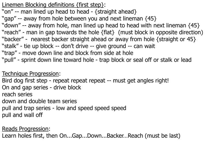 Linemen Blocking definitions {first step}