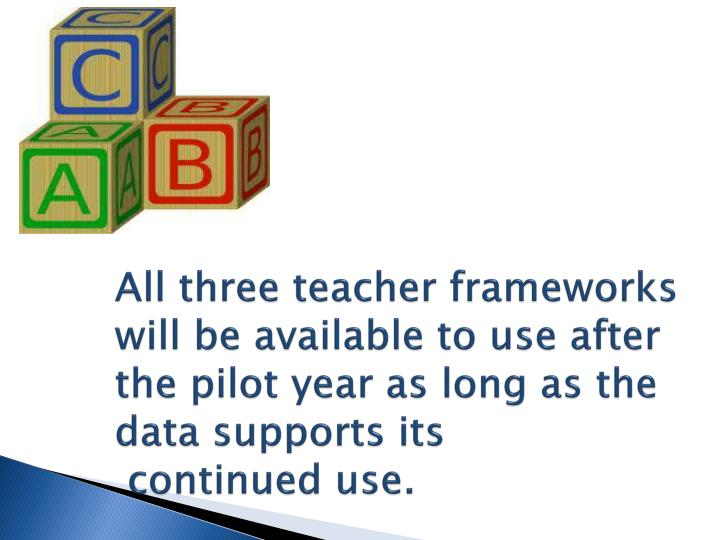All three teacher frameworks will be available to use after