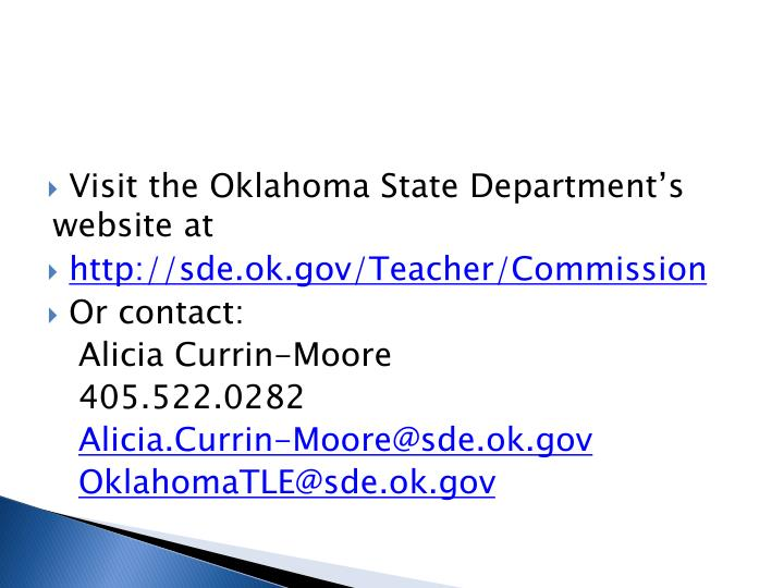 Visit the Oklahoma State Department's website at