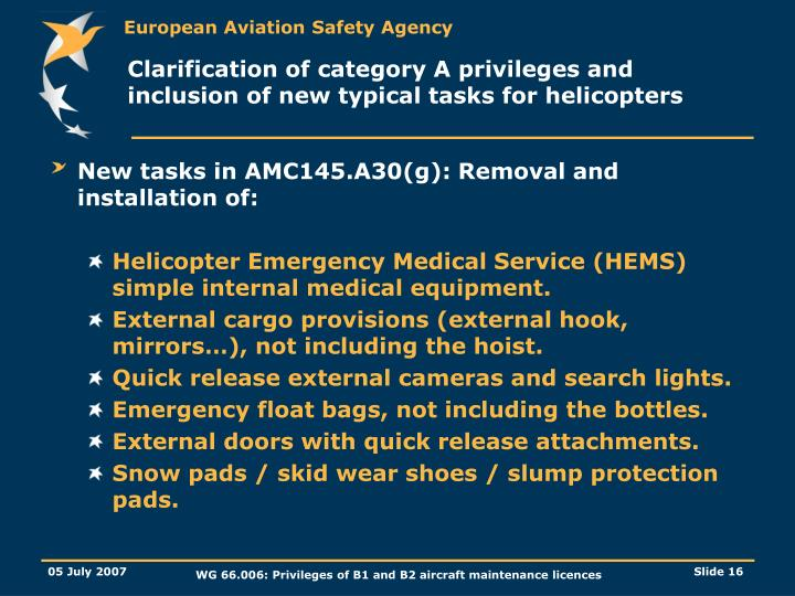 Clarification of category A privileges and inclusion of new typical tasks for helicopters