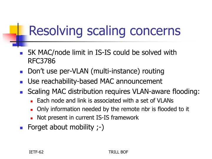 Resolving scaling concerns