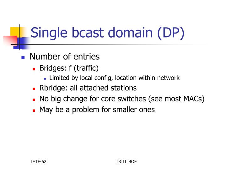 Single bcast domain (DP)