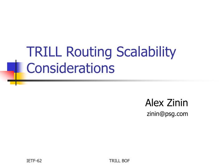 Trill routing scalability considerations
