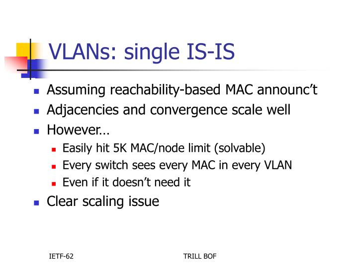 VLANs: single IS-IS