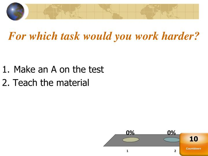 For which task would you work harder?