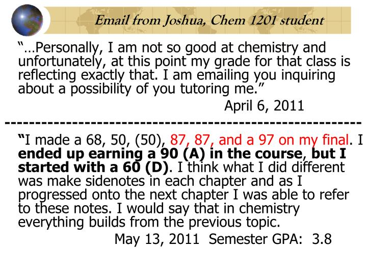 Email from Joshua, Chem 1201 student