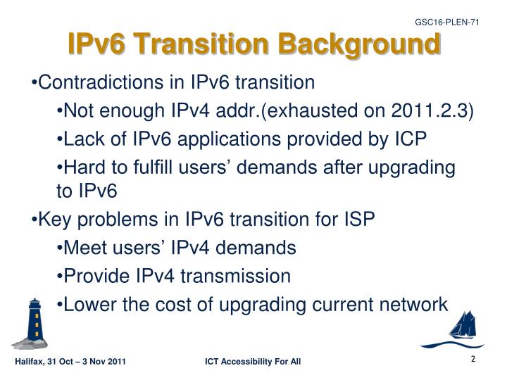 Ipv6 transition background