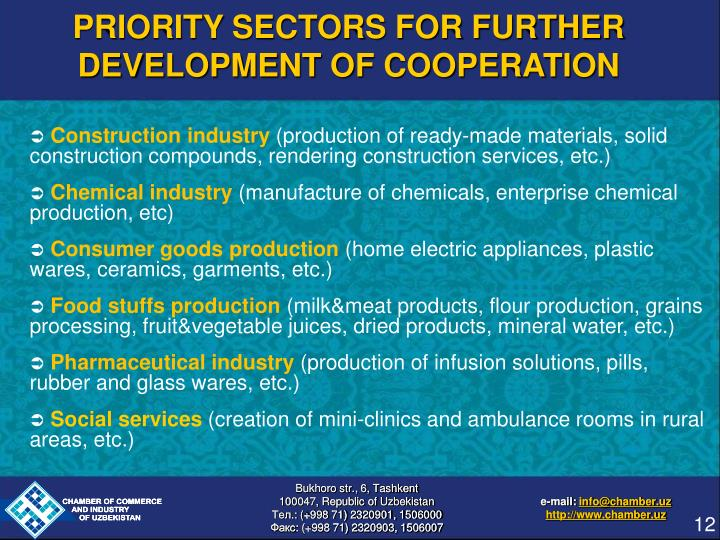 PRIORITY SECTORS FOR FURTHER DEVELOPMENT OF COOPERATION