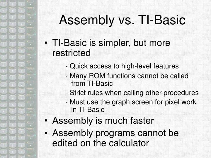 Assembly vs ti basic