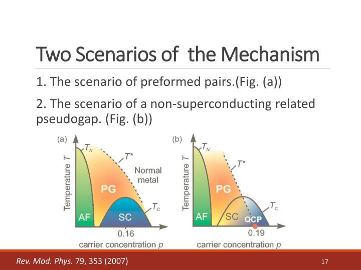 Two Scenarios of  the Mechanism