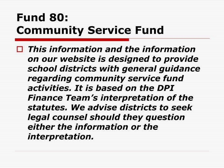 Fund 80 community service fund1