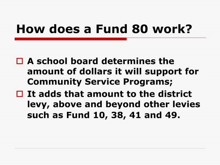 How does a Fund 80 work?