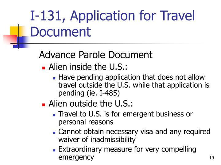 I-131, Application for Travel Document