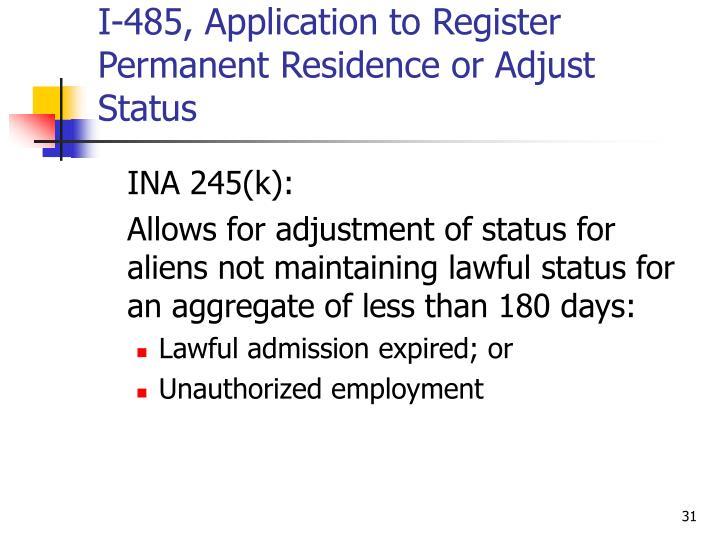 I-485, Application to Register Permanent Residence or Adjust Status