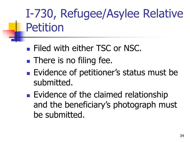I-730, Refugee/Asylee Relative Petition