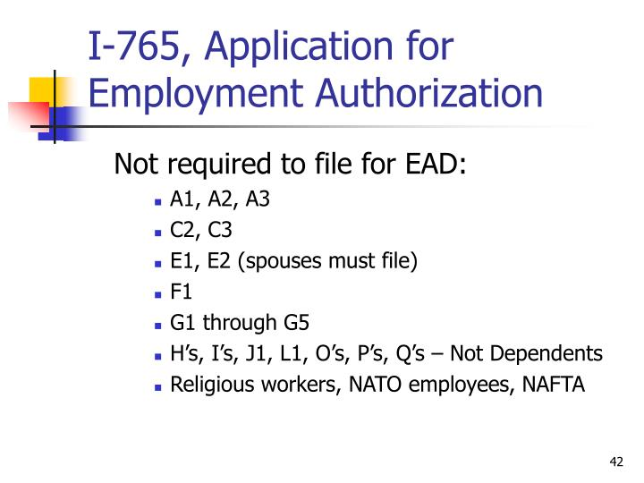 I-765, Application for Employment Authorization