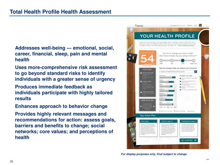 Total Health Profile Health Assessment