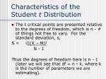 characteristics of the student t distribution1