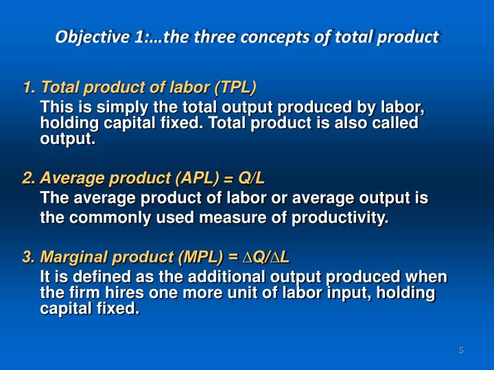 Objective 1:…the three concepts of total product