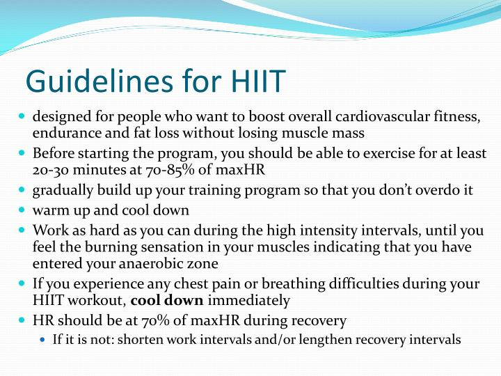 Guidelines for HIIT