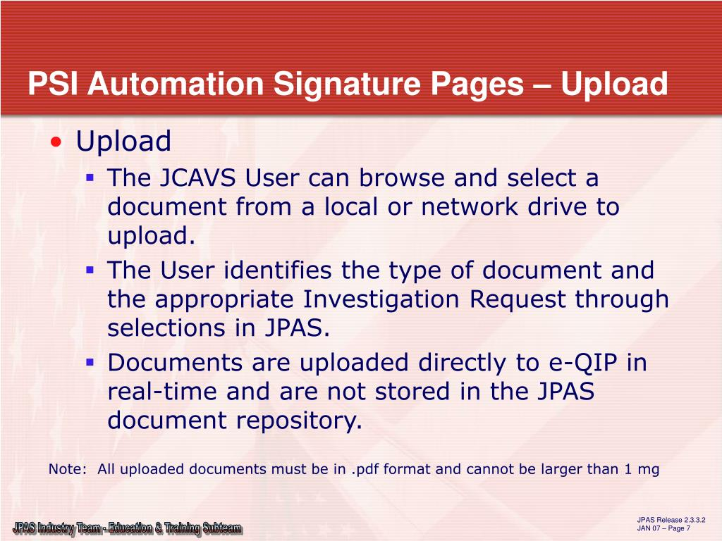 PPT - Electronic Submission of Signature Pages Developed by the JPAS Industry Team PowerPoint ...