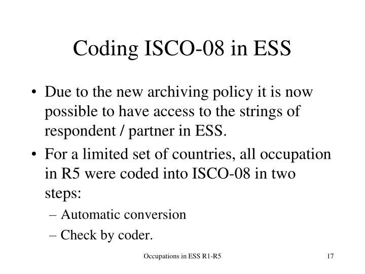 Coding ISCO-08 in ESS