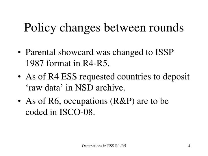 Policy changes between rounds