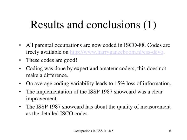 Results and conclusions (1)