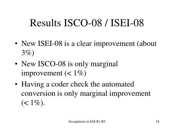 Results ISCO-08 / ISEI-08
