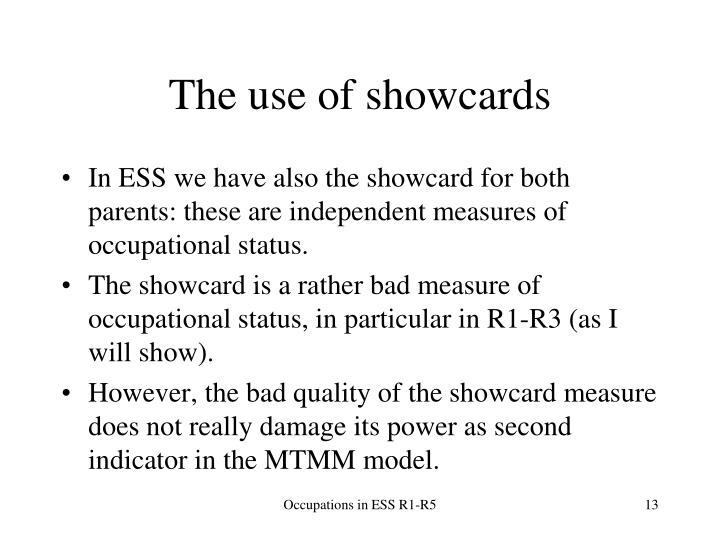The use of showcards
