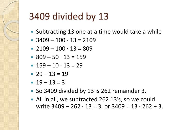 3409 divided by 13