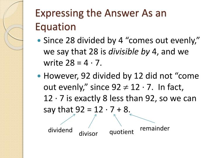 Expressing the Answer As an Equation