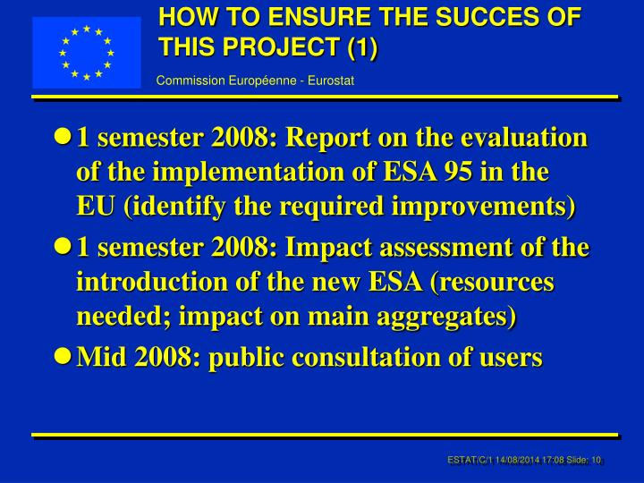 HOW TO ENSURE THE SUCCES OF THIS PROJECT (1)