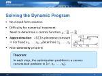 solving the dynamic program
