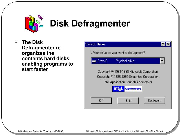 windows 98 defrag