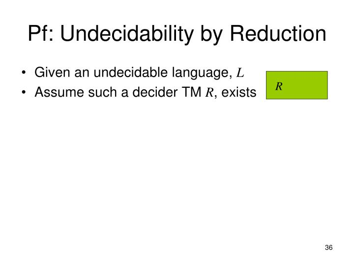Pf: Undecidability by Reduction