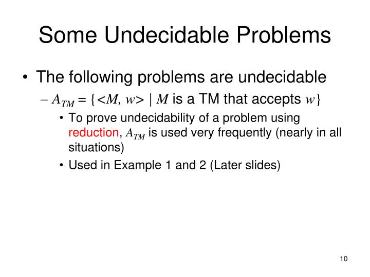 Some Undecidable Problems