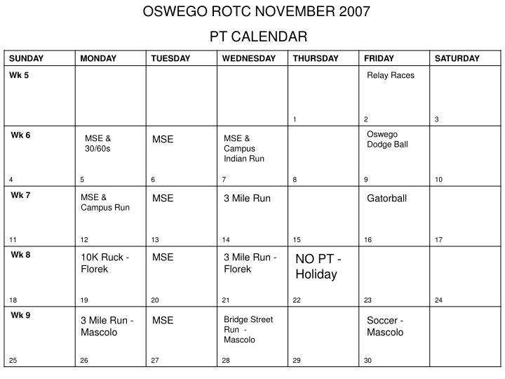 Ppt Oswego Rotc August 2007 Pt Calendar Powerpoint Presentation