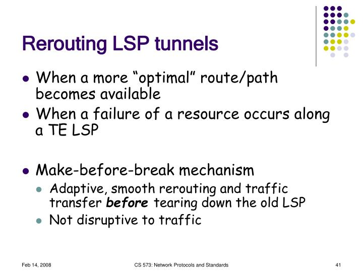 Rerouting LSP tunnels
