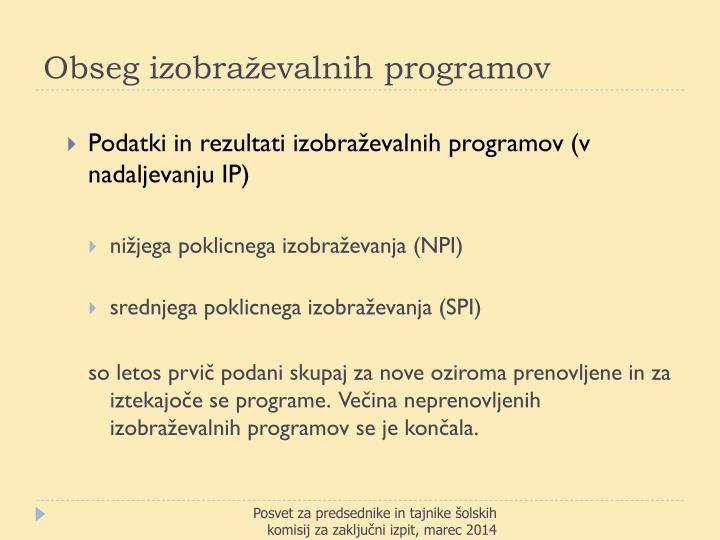 Obseg izobraževalnih programov