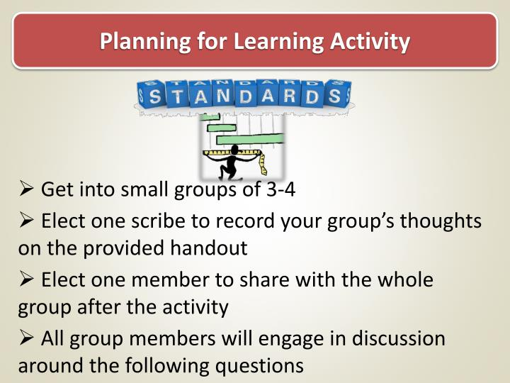 Planning for Learning Activity